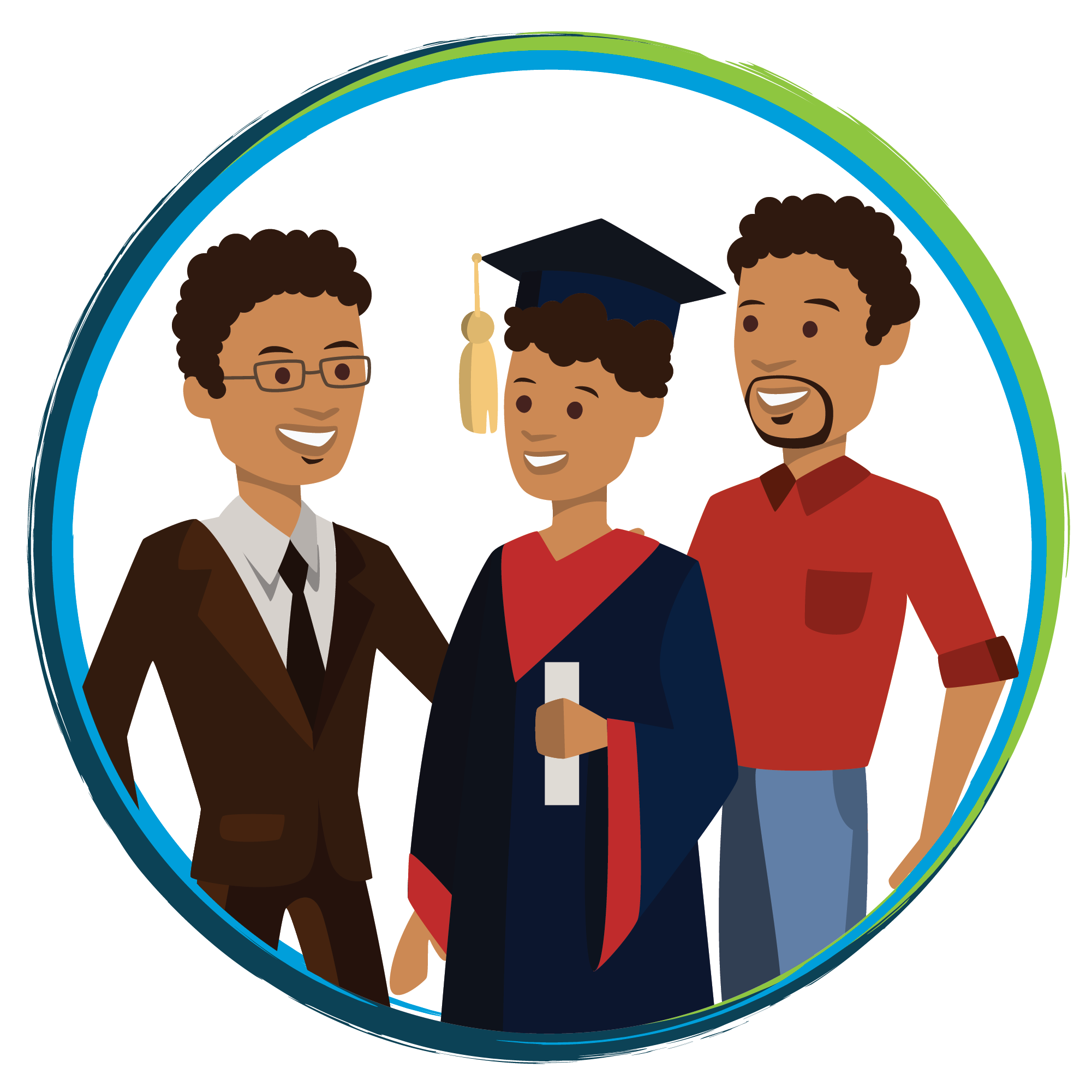 illustration of coach and mentor with mentee graduate